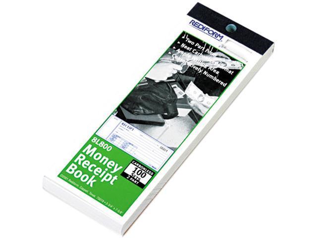 Rediform 8L800 Money Receipt Book, 2-3/4 x 7, Carbonless Duplicate, 100 Sets/Book