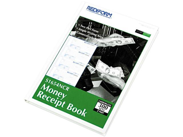 Rediform S1654N-CR Hardcover Numbered Money Receipt Book, 2-3/4 x 6-7/8, Two-Part, 300 Forms