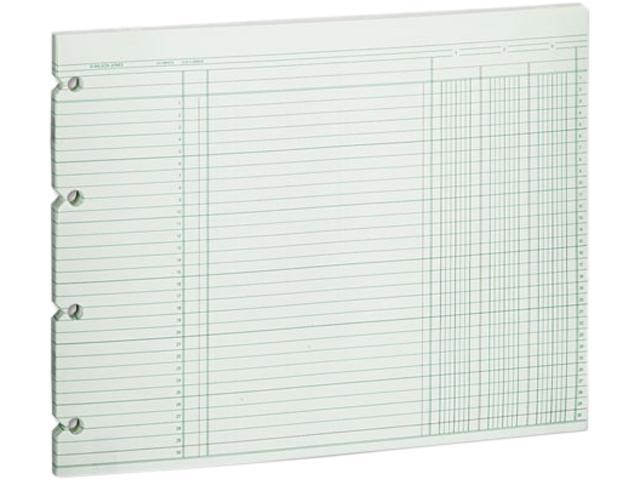 Wilson Jones G10-3 Accounting Sheets, Three Column, 9-1/4 x 11-7/8, 100 Loose Sheets/Pack, Green