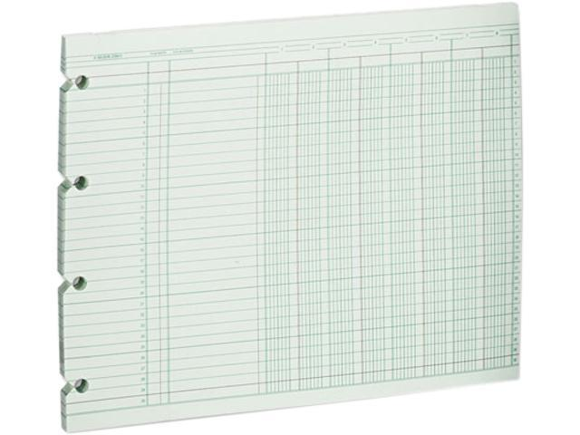 Wilson Jones G10-8 Accounting Sheets, Eight Column, 9-1/4 x 11-7/8, 100 Loose Sheets/Pack, Green