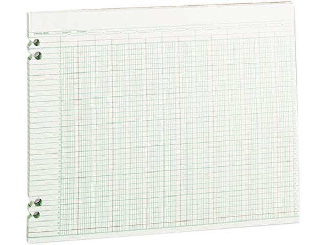 Wilson Jones G30-24 Accounting Sheets, 24 Columns, 11 x 14, 100 Loose Sheets/Pack, Green