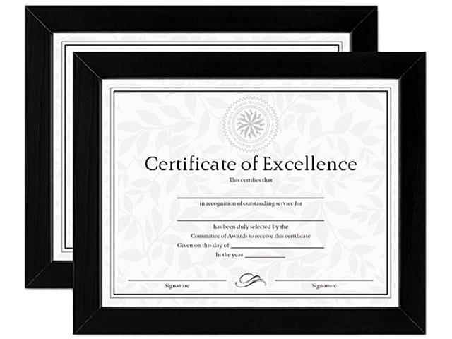 DAX N15832 Document/Certificate Frames, Wood, 8 1/2 x 11, Black, Set of Two, 1 Set