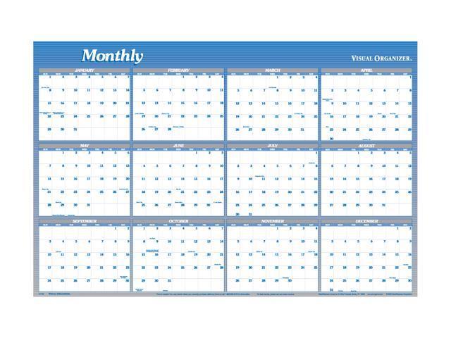 Visual Organizer A1152 Visual Organizer Vertical/Horizontal Erasable Wall Planner, 48