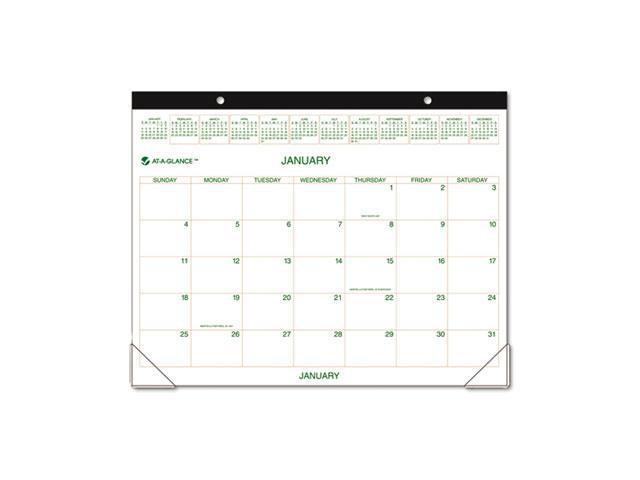 AT-A-GLANCE GG2500-00 Recycled Two-Color Desk Pad Calendar,  Green and Brown, 22