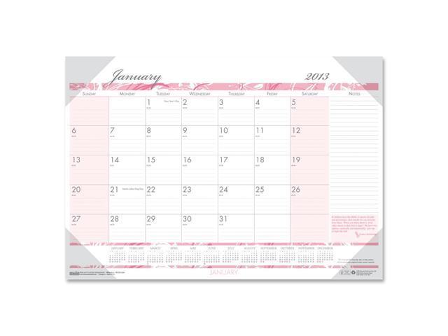 House of Doolittle 1466 Breast Cancer Awareness Monthly Desk Pad Calendar, 18-1/2 x 13