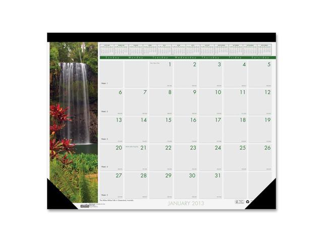 House of Doolittle 171 Waterfalls of the World Photographic Monthly Desk Pad Calendar, 22 x 17
