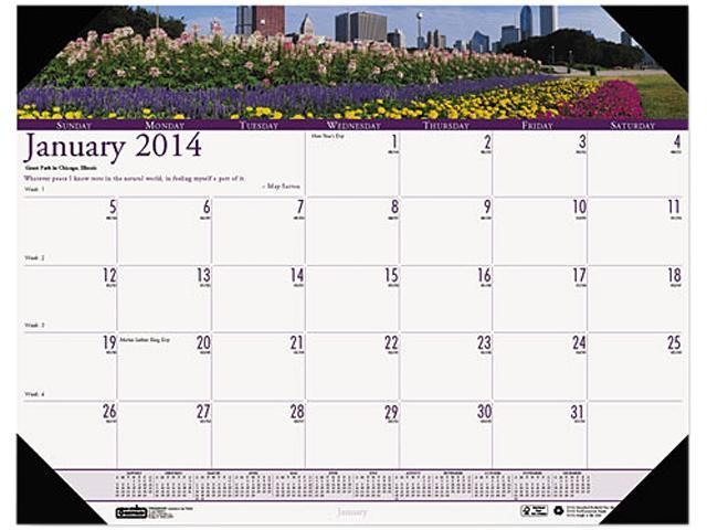 House Of Doolittle 174 Gardens of the World Photographic Monthly Desk Pad Calendar, 22 x 17
