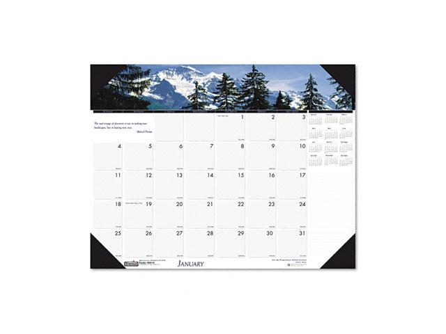 House of Doolittle 1766 Mountains of the World Photographic Monthly Desk Pad Calendar, 18-1/2 x 13