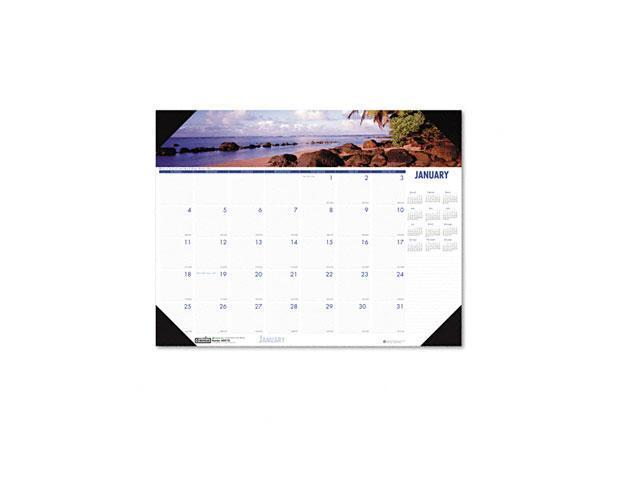House of Doolittle 1786 Coastlines Photographic Monthly Desk Pad Calendar, 18-1/2 x 13