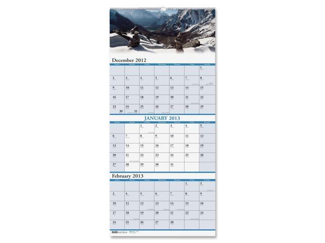 House of Doolittle 3638 Scenic Landscapes Three-Months-per-Page Wall Calendar, 12-1/4 x 26-1/2