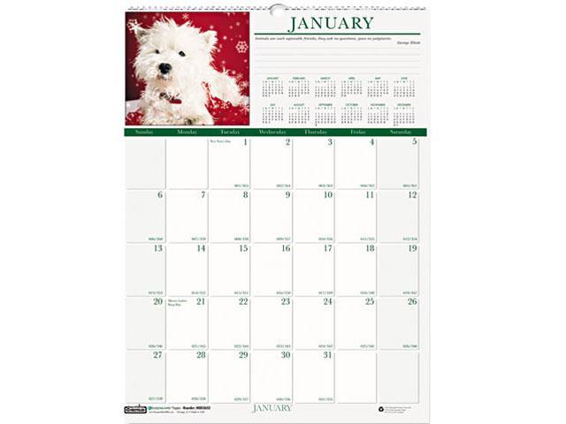 House Of Doolittle 3652 Puppies Monthly Wall Calendar, 12 x 16-1/2