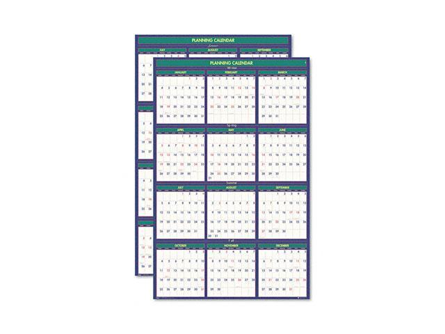 House of Doolittle 390 Four Seasons Reversible Business/Academic Year Paper Wall Calendar, 24 x 37