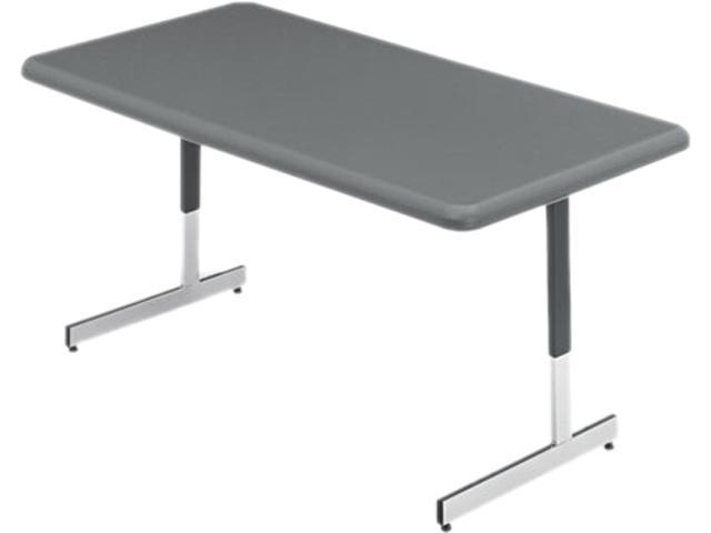 Iceberg 65727 IndestrucTable TOO Resin Adj Hgt Utility Table, 60w x 30d x 21-31h, Charcoal