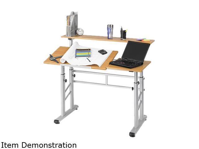 Safco 3965MO Adjustable Split Level Workstation, 47-1/4w x 29-1/2d x 37-1/4h, Medium Oak