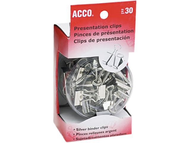 Acco 71138 Presentation Clips, Steel/Nickel, Assorted Size Clips, Silver, 30/Box