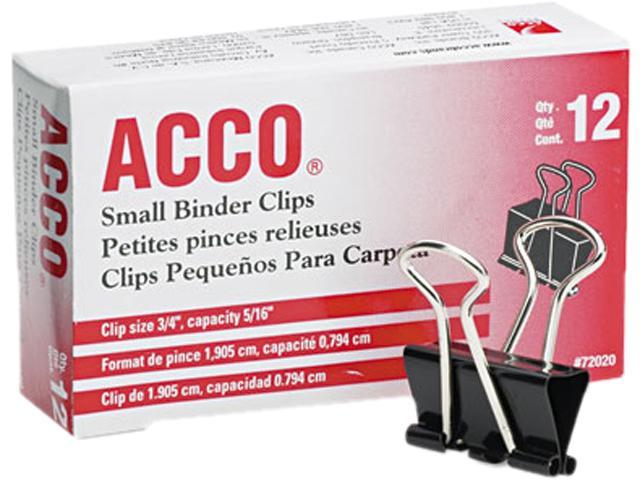 Acco 72020 Small Binder Clips, Steel Wire, 5/16