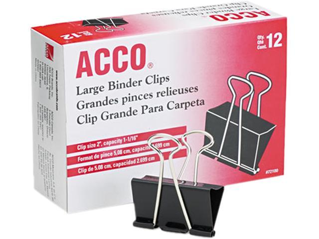 Acco 72100 Large Binder Clips, Steel Wire, 5/16