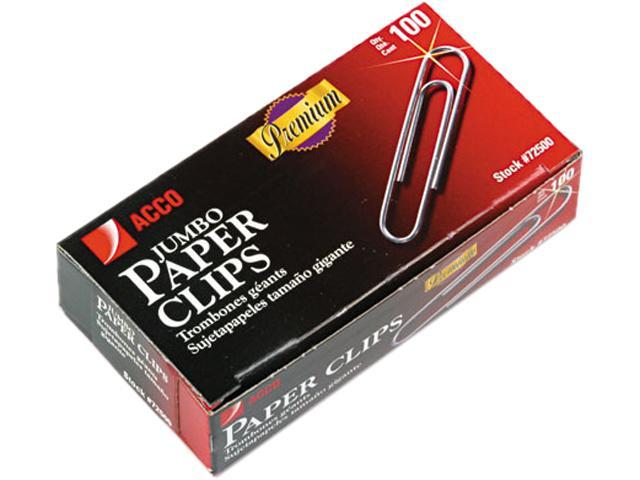 Acco 72500 Smooth Finish Premium Paper Clips, Wire, Jumbo, Silver, 100/Box, 10 Boxes/Pack