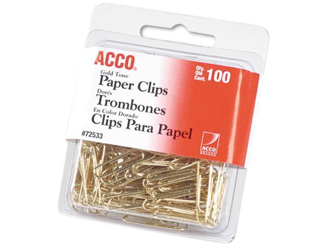 """Acco 72533 Paper Clips, Wire, No. 2, 1-1/8"""", Gold Tone, 100/Box"""