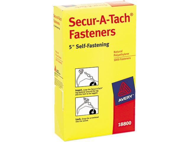 "Avery 18800 Secur-A-Tach Tag Fasteners, Weatherproof Nylon, 5"" Long, 1000/Pack"