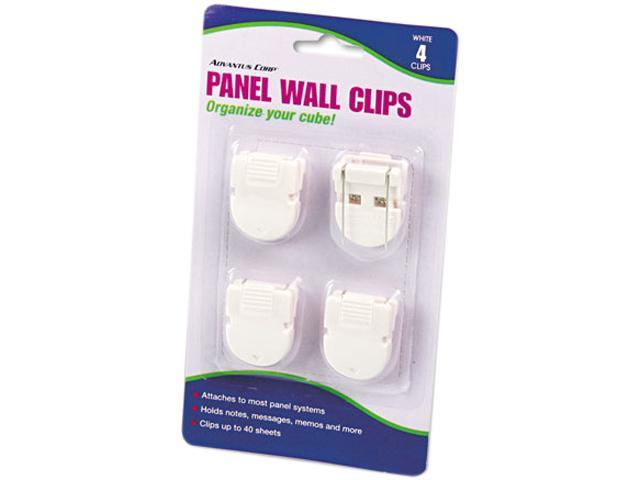 Advantus 75300 Panel Wall Clips for Fabric Panels, Standard Size, White, 4/Pack