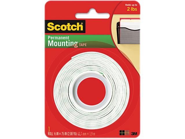 Scotch 110 Foam Mounting Double-Sided Tape, 1/2 Wide x 75 Long
