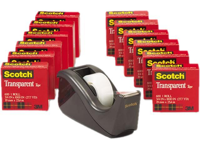 "Scotch 600K-C60 C60 Desktop Dispenser/12 Rolls Transparent Glossy Tape, 1"" core, Black"