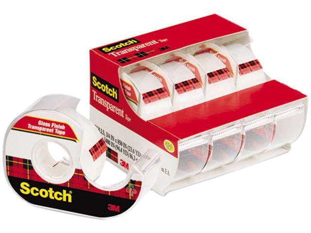 Scotch 4184 Transparent Glossy Tape & Handheld Dispenser, 3/4