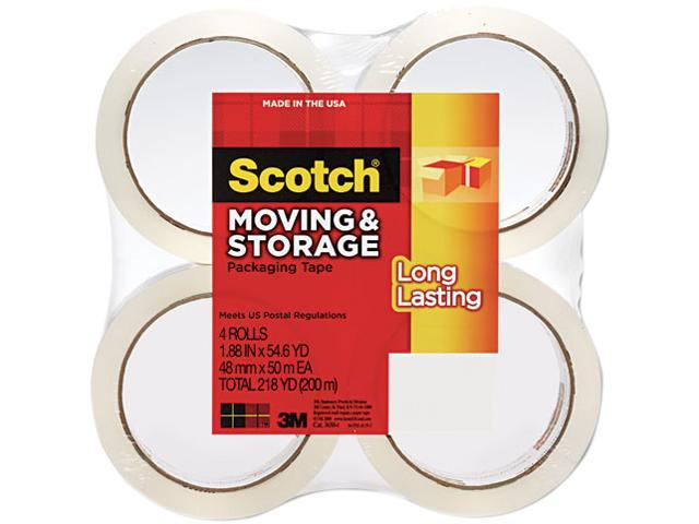 """Scotch 3650-4 Moving & Storage Tape, 1.88"""" x 54.6 yards, 3"""" Core, Clear, 4 Rolls/Pack"""