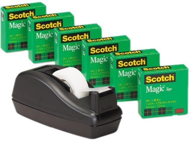 """Scotch 810C40BK C40 Desk Tape Dispenser and 6 Rolls Scotch Magic Tape, 1"""" Core, Black"""