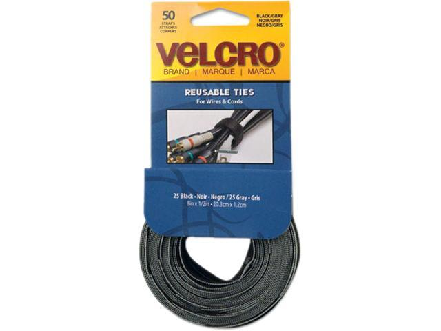Velcro 90924 Reusable Self-Gripping Ties, 1/2 x Eight Inches, Black/Gray, 50 Ties/Pack