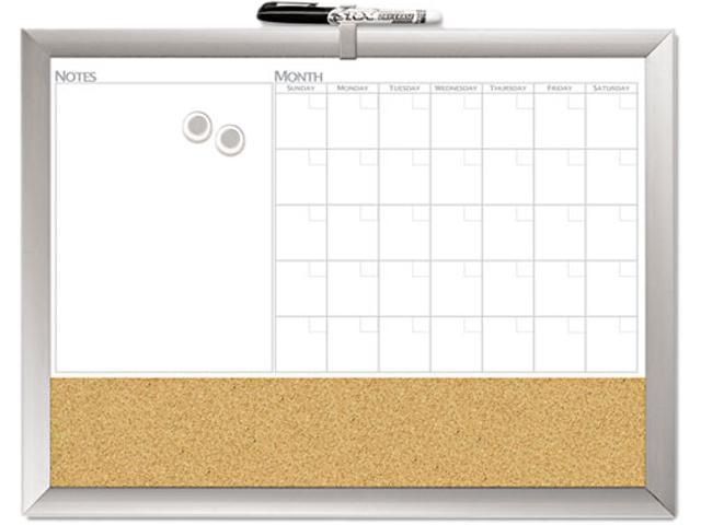 The Board Dudes 17004BDUA Magnetic Dry Erase 3-N-1 Board, Cork Area, 24 x 18, White with Silver Frame