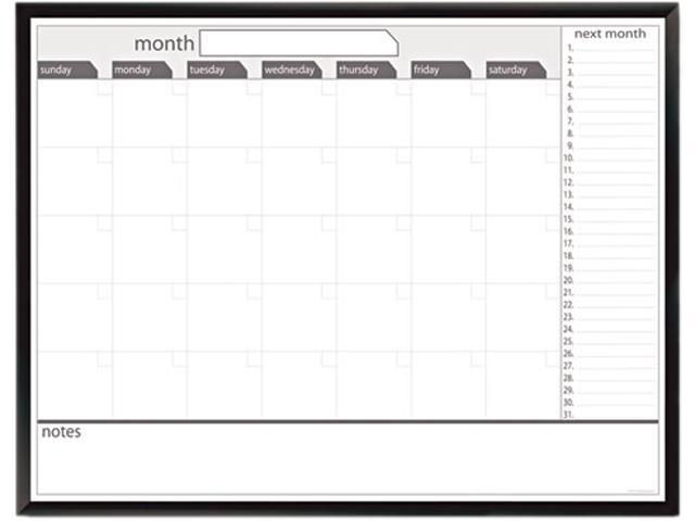 The Board Dudes 17346UA-1 Magnetic Dry Erase Board, 48 x 36, Black/White Calendar with Black-Painted Frame