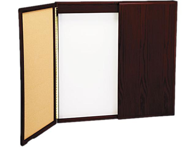 Best-Rite 20631 Wood Conference Room Cabinet, Dry Erase/Cork Boards, 48 x 5 x 48, Mahogany
