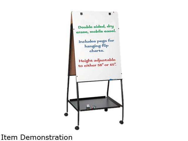 Best-Rite 33250 Wheasel Easel Adjustable Melamine Dry Erase Board, 28 3/4 x 59 1/2, White