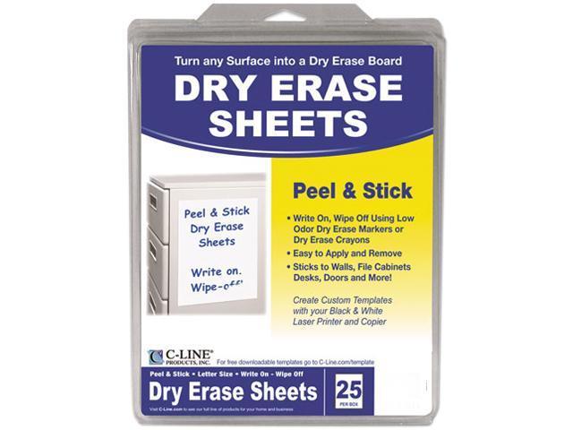C-line 57911 Self-Stick Dry Erase Sheets, 8 1/2 x 11, White, 25 Sheets/Box