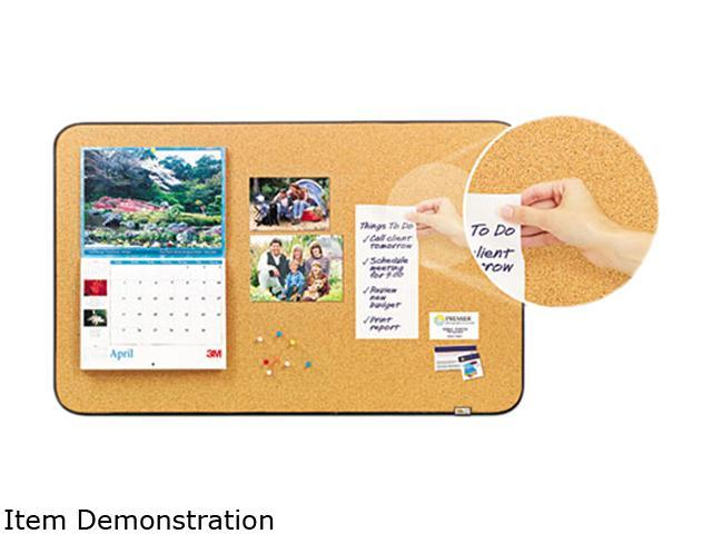 Post-it 558-BB Sticky Cork Self-Stick Bulletin Board, 36 x 22, Natural, Black Frame