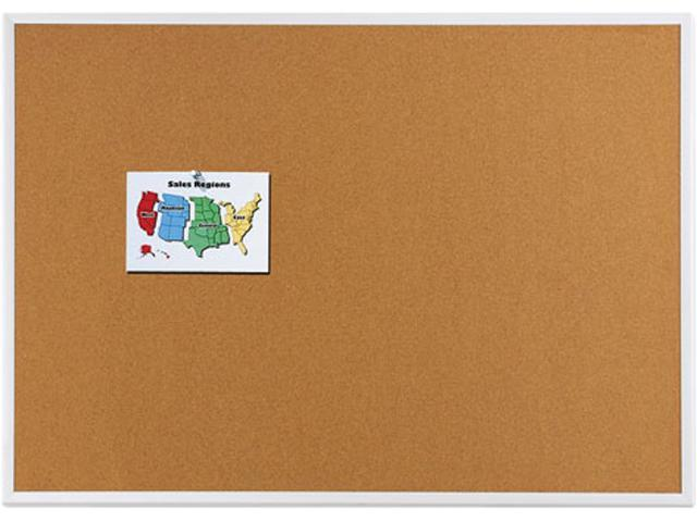 Quartet 2304 Cork Bulletin Board, Natural Cork/Fiberboard, 48 x 36, Aluminum Frame