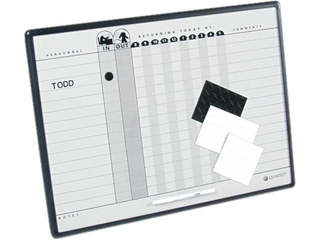 Quartet 781G Magnetic Employee In/Out Board, Porcelain, 24 x 18, Gray/Black, Aluminum Frame