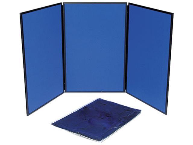 Quartet SB93513Q ShowIt Three-Panel Display System, Fabric, Blue/Gray, Black PVC Frame