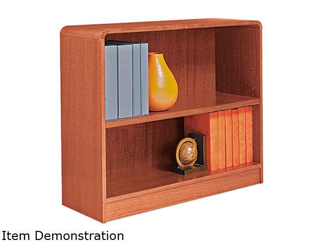 Alera BCR23036MO Radius Corner Wood Veneer Bookcase, 2-Shelf, 35-3/8w x 11-3/4d x 30h, Medium Oak
