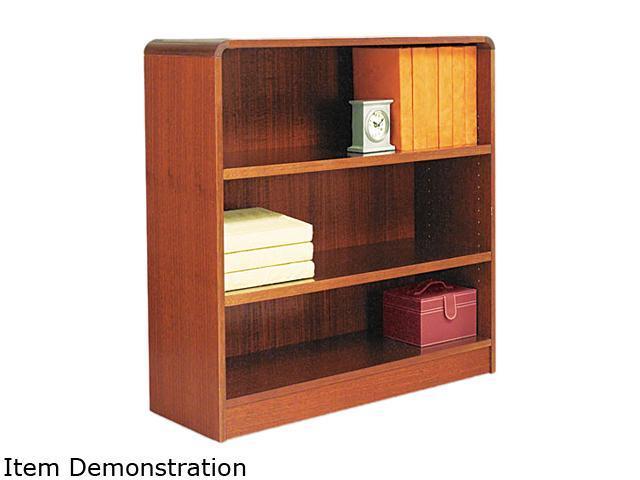 Alera BCR33636MC Radius Corner Wood Veneer Bookcase, 3-Shelf, 35-3/8 x 11-3/4 x 36, Medium Cherry