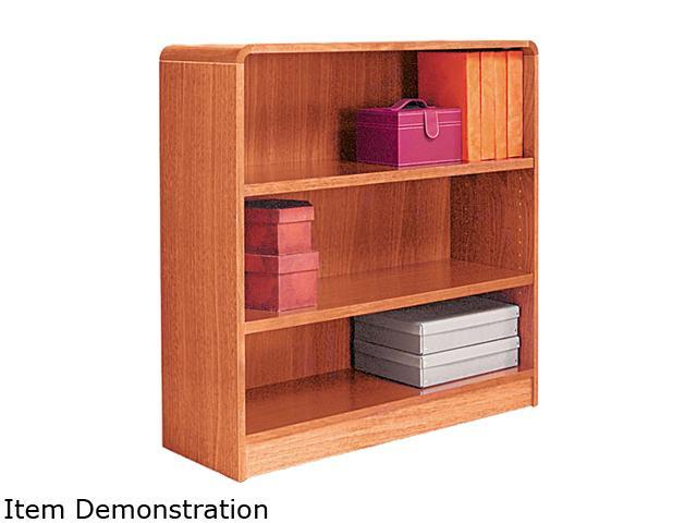 Alera BCR33636MO Radius Corner Wood Veneer Bookcase, 3-Shelf, 35-3/8w x 11-3/4d x 36h, Medium Oak