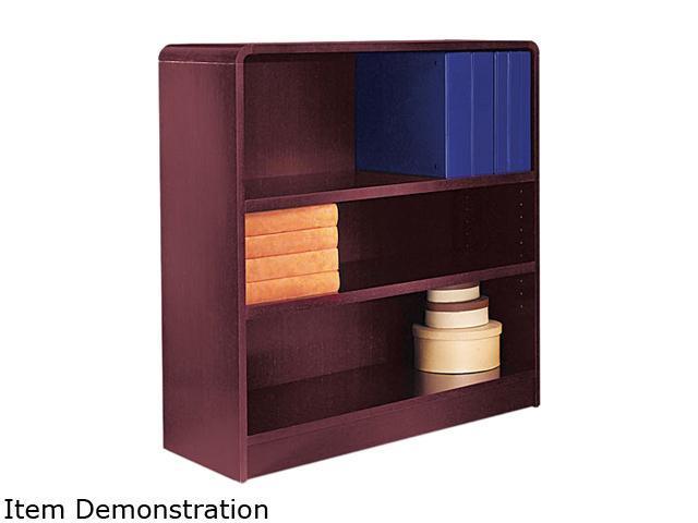 Alera BCR33636MY Radius Corner Bookcase, Wood Veneer, 3-Shelf, 35-3/8w x 11-3/4d x 36h, Mahogany