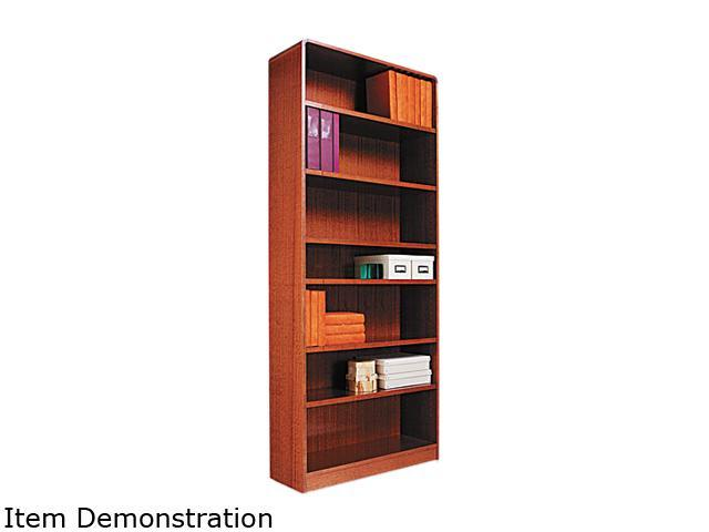 Alera BCR78436MO Radius Corner Bookcase, Finished Back, Wood Veneer, 7-Shelf, 36x12x84, Med. Oak