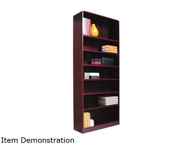 Alera BCR78436MY Radius Corner Bookcase, Finished Back, Wood Veneer, 7-Shelf, 36x12x84, Mahogany