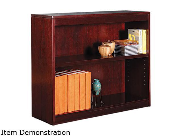 Alera BCS23036MY Square Corner Bookcase, Wood Veneer, 2-Shelf, 35-3/8w x 11-3/4d x 30h, Mahogany