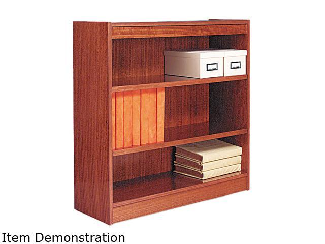 Alera BCS33636MO Square Corner Wood Veneer Bookcase, 3-Shelf, 35-3/8w x 11-3/4d x 36h, Medium Oak