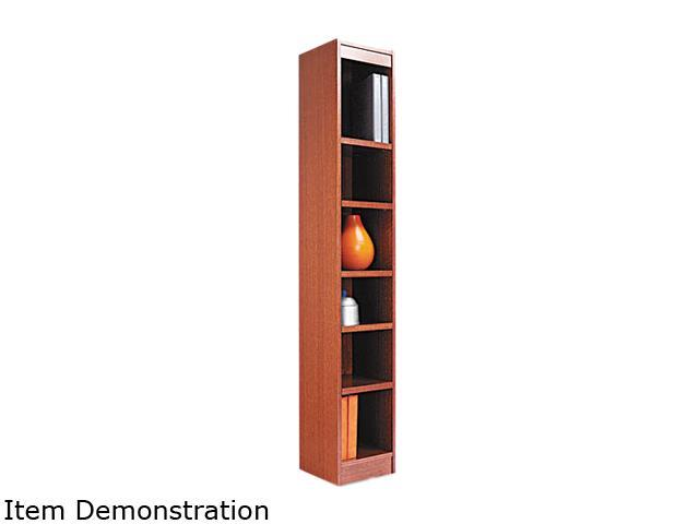 Alera BCS67212MO Narrow Profile Bookcase, Wood Veneer, 6-Shelf, 12w x 12d x 72h, Medium Oak