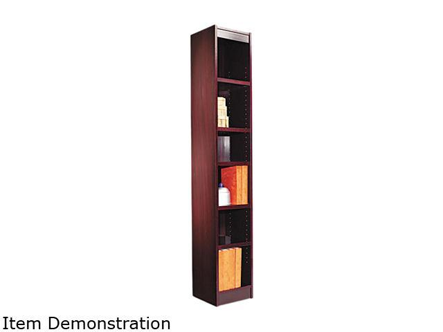 Alera BCS67212MY Narrow Profile Bookcase, Wood Veneer, 6-Shelf, 12w x 12d x 72h, Mahogany